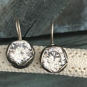 Silpada CZ Sterling Silver French Hook Earrings